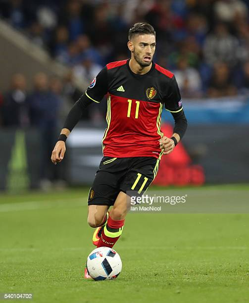 Yannick Ferreira Carrasco of Belgium controls the ball during the UEFA EURO 2016 Group E match between Belgium and Italy at Stade des Lumieres on...