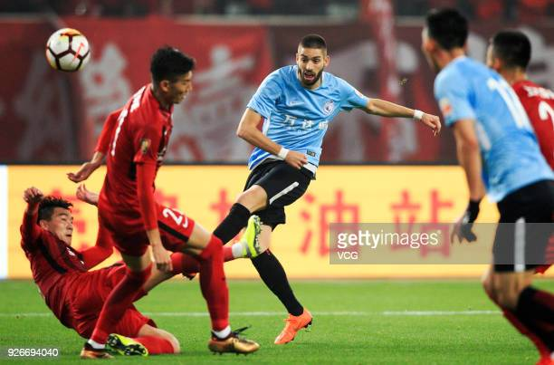 Yannick Ferreira Carrasco of Dalian Yifang shoots the ball during the 2018 Chinese Football Association Super League first round match between...