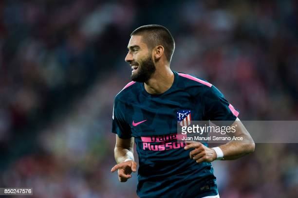 Yannick FerreiraCarrasco of Atletico Madrid celebrates after scoring his team's second goal during the La Liga match between Athletic Club Bilbao and...