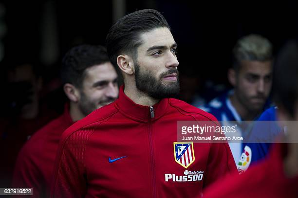 Yannick FerreiraCarrasco of Atletico Madrid looks on prior to the start the La Liga match between Deportivo Alaves and Atletico Madrid at...