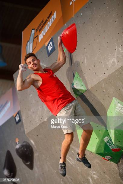 Christoph Schweiger competes during the finals of the German Boulder Championship on June 17 2018 in Friedrichshafen Germany