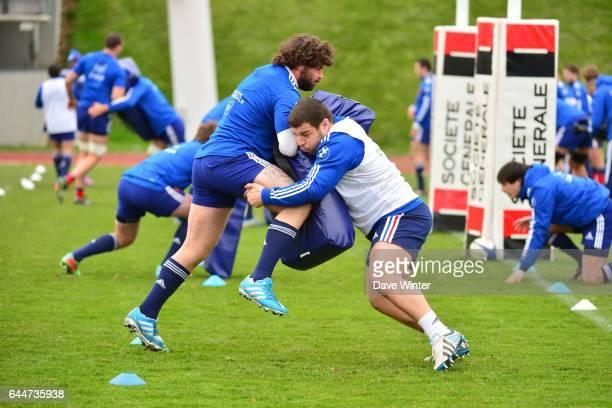 Yannick FORESTIER / Rabah SLIMANI Entrainement Equipe de France de Rugby Photo Dave Winter / Icon Sport