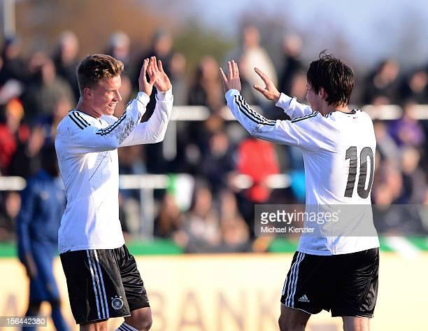 Yannick Gerhardt and Fabian Schnellhardt of Germany celebrate the third goal during the International Friendly match between U19 Germany and U19...