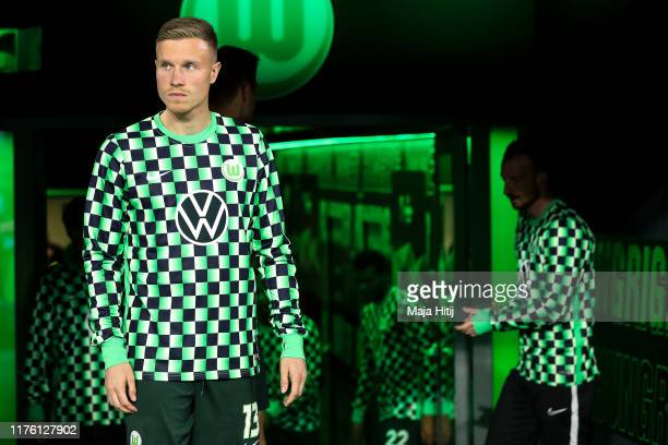 Yannick Gerhardt and players of VfL Wolfsburg arrive prior to the UEFA Europa League group I match between VfL Wolfsburg and FC Oleksandriya at...