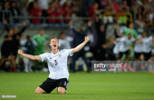 Yannick Gerhardt of Germany celebrates victory after the UEFA European Under21 Championship Final between Germany and Spain at Krakow Stadium on June...