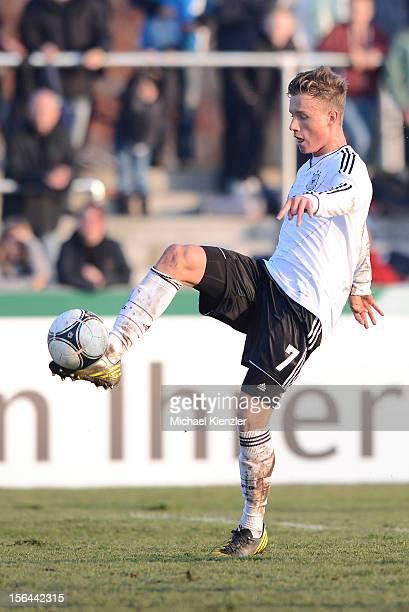 Yannick Gerhardt of Germany kick the ball during the International Friendly match between U19 Germany and U19 France at Rheinstadium on November 14...