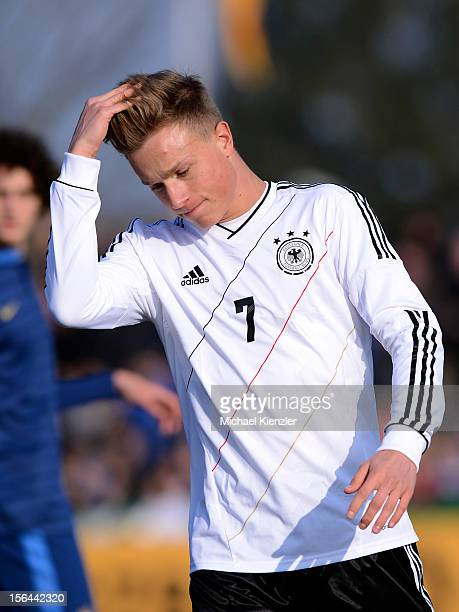 Yannick Gerhardt of Germany reacts after good chance for goal during the International Friendly match between U19 Germany and U19 France at...