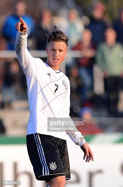 Yannick Gerhardt of Germany reacts during the International Friendly match between U19 Germany and U19 France at Rheinstadium on November 14 2012 in...