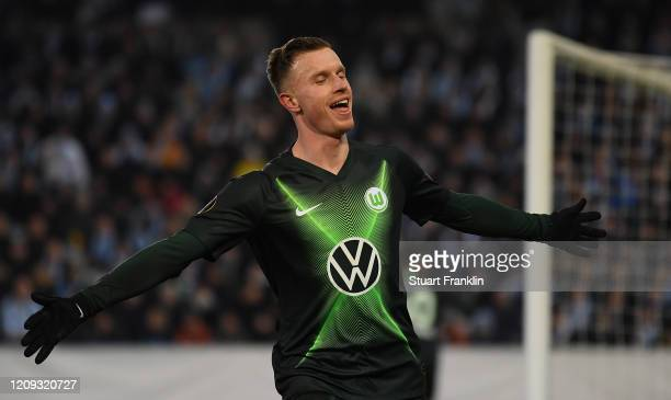 Yannick Gerhardt of Wolfsburg celebrates his goal during the UEFA Europa League round of 32 second leg match between Malmo FF and VfL Wolfsburg at...