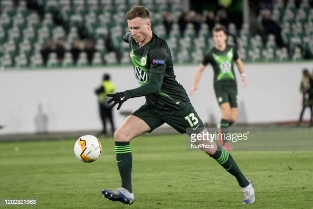 Yannick Gerhardt of Wolfsburg kicks during the UEFA Europa League, last 32, first leg football match VfL Wolfsburg v Malmö FF in Wolfsburg, Germany,...