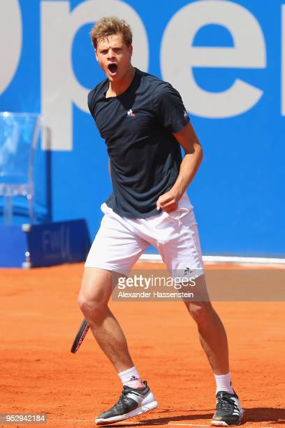 Yannick Hanfmann of Germany celebrates during his first round match against Marcos Baghdatis of Cyprus on day 3 of the BMW Open by FWU at MTTC...