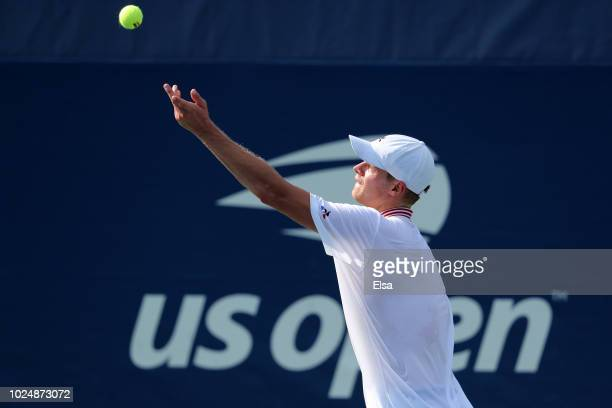 Yannick Hanfmann of Germany serves in his men's singles first round match against Philipp Kohlschreiber of Germany on Day Two of the 2018 US Open at...