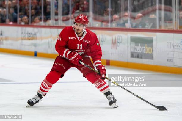 Yannick Herren of Lausanne HC in action during the Swiss National League game between Lausanne HC and HC AmbriPiotta at Vaudoise Arena on October 5...