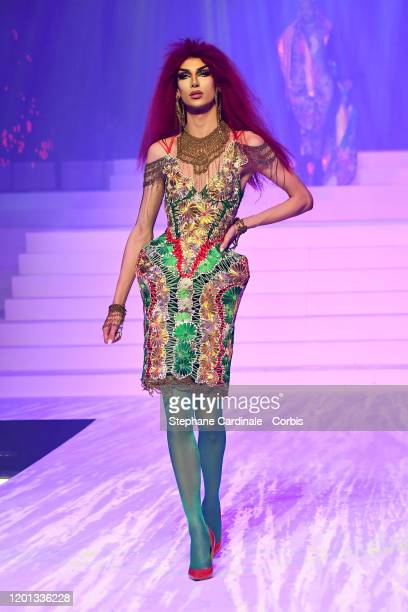 Yannick Martin walks the runway during the Jean-Paul Gaultier Haute Couture Spring/Summer 2020 show as part of Paris Fashion Week at Theatre Du...