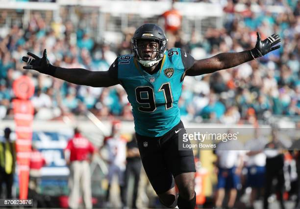Yannick Ngakoue of the Jacksonville Jaguars celebrates a play on the field in the second half of their game against the Cincinnati Bengals at...