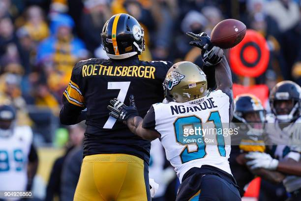 Yannick Ngakoue of the Jacksonville Jaguars deflects a pass by Ben Roethlisberger of the Pittsburgh Steelers during the second half of the AFC...