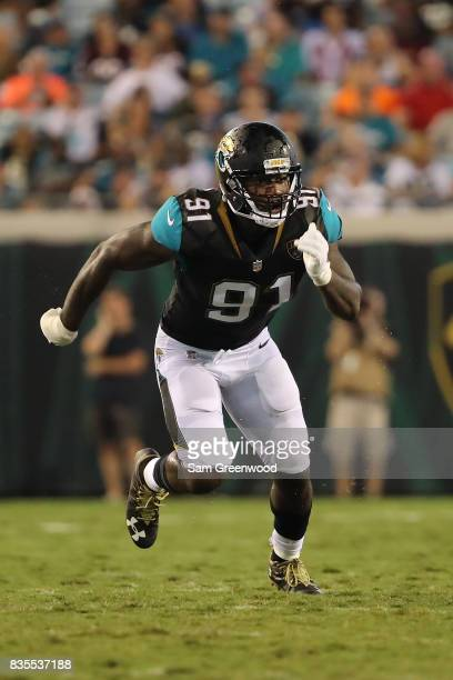Yannick Ngakoue of the Jacksonville Jaguars in action during a preseason game against the Tampa Bay Buccaneers at EverBank Field on August 17 2017 in...