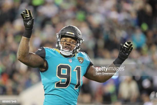Yannick Ngakoue of the Jacksonville Jaguars waits on the field during the second half of their game against the Seattle Seahawks at EverBank Field on...