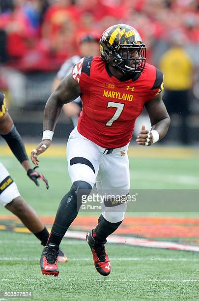 Yannick Ngakoue of the Maryland Terrapins defends against the Bowling Green Falcons at Byrd Stadium on September 12 2015 in College Park Maryland