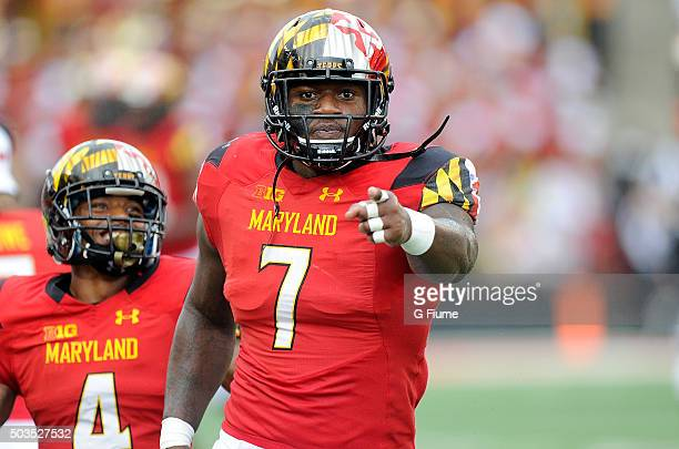 Yannick Ngakoue of the Maryland Terrapins reacts after a defensive stop against the Bowling Green Falcons at Byrd Stadium on September 12 2015 in...