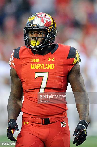 Yannick Ngakoue of the Maryland Terrapins rests during a break in the game against the Wisconsin Badgers at Byrd Stadium on November 7 2015 in...