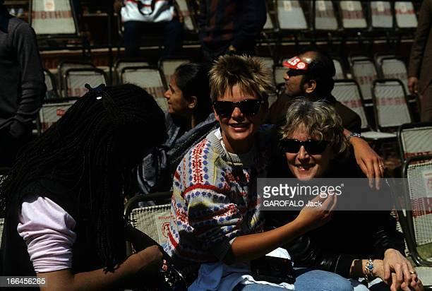 Yannick Noah And Henry Lecomte At Davis Cup. En Inde, à New DELHI, en février1984, lors du premier tour de la Coupe Davis 1984, Cécilia RHODE, la...