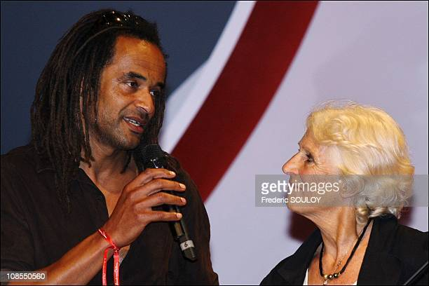 Yannick Noah and her mother Marie-Claire in Paris,France on May 19,2006.