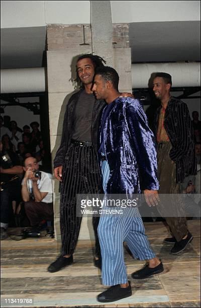 Yannick Noah and Jose Toure parade Yohji Yamamoto in Paris On July 6th, 1991 In Paris, France