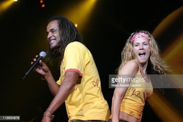 Yannick Noah and Lorie during 'Les Enfants de la Terre' Charity Concert at Zenith in Paris france France