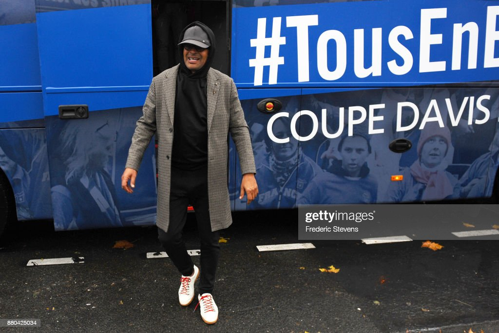 Yannick Noah arrives at NTC after victory over Belgium at the weekend in Villeneuve d'Ascq, on November 27, 2017 in Paris, France.