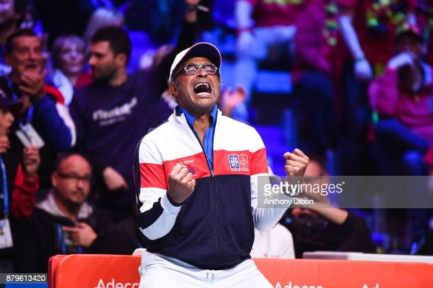 Yannick Noah coach of France celebrates during the day 3 of the Final of the Davis Cup match between France and Belgium at Stade Pierre Mauroy on...