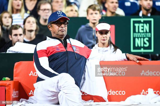 Yannick Noah coach of France during the day 2 of the Semifinals of the Davis Cup between France and Serbia at Stade Pierre Mauroy on September 16...