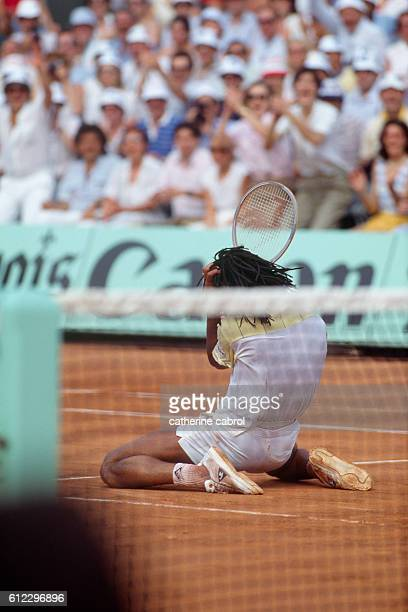 Yannick Noah during the 1983 Monte-Carlo tennis championships.