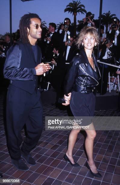 Yannick Noah et Dalila Di Lazzaro au Festival de Cannes en mai 1992 France