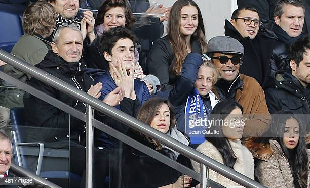 Yannick Noah his son Joalukas Noah and his cousin and bassist Francois Guibbaud attend the French Ligue 1 match between Paris SaintGermain FC and...