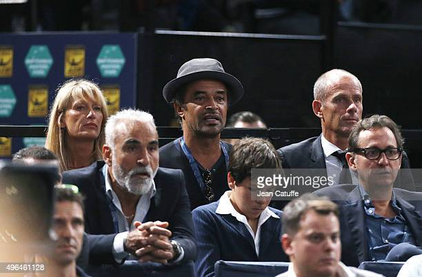 Yannick Noah his wife Isabelle Camus and Guy Forget attend the final on day 7 of the BNP Paribas Masters held at AccorHotels Arena on November 8 2015...
