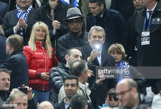 Yannick Noah his wife Isabelle Camus and their son Joalukas Noah attend the French League Cup final between Paris SaintGermain FC and Sporting Club...