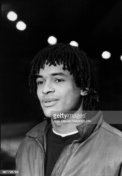 Yannick Noah lors de la finale de la Coupe Davis à Grenoble le 18 novembre 1982 France