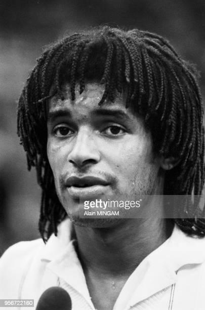 Yannick Noah à Moscou lors de la Coupe Davis à Moscou le 6 mars 1983 Russie