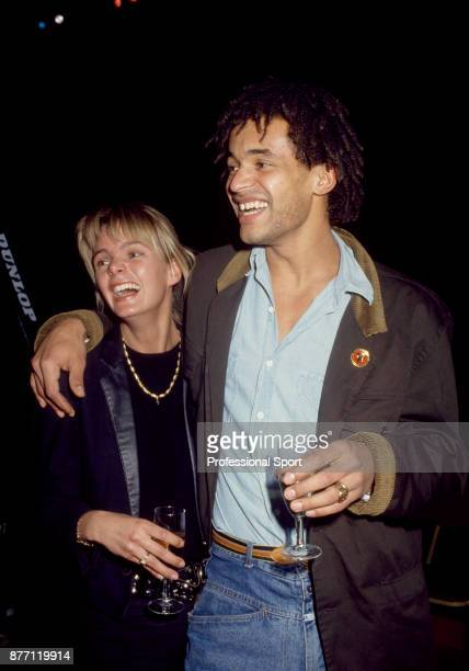 Yannick Noah of France photographed with his girlfriend model and Miss Sweden Cecilia Rodhe circa 1986