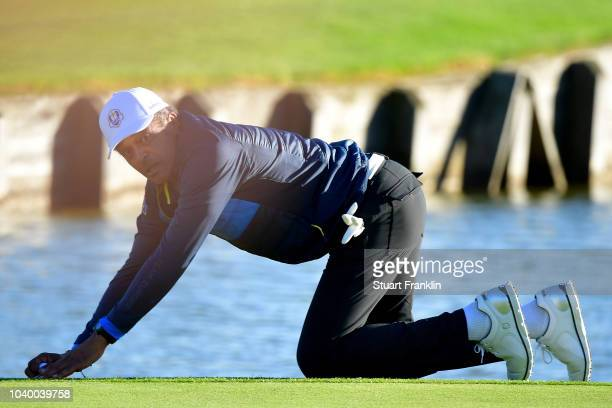 Yannick Noah of Team Europe looks on during the celebrity challenge match ahead of the 2018 Ryder Cup at Le Golf National on September 25 2018 in...