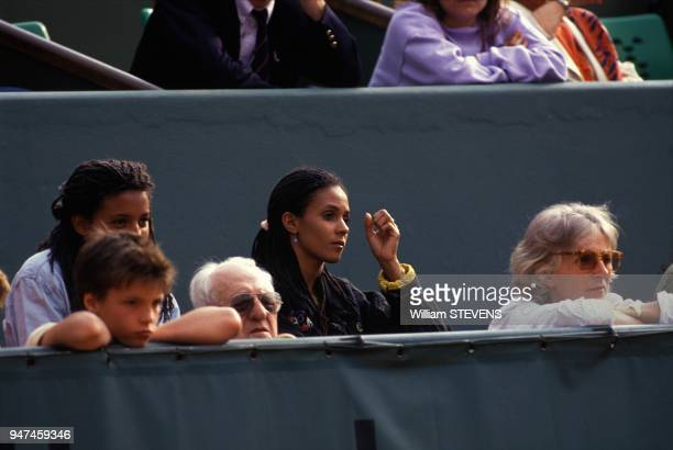 Yannick Noah s Mother Marie Claire On Right And Relatives At Tennis French Open, Paris, May 1990.