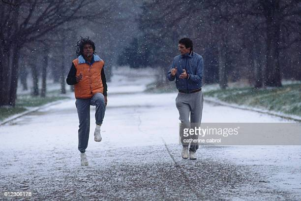 Yannick Noah training with his coach.