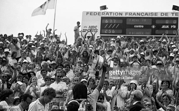 Yannick Noah winning the French Open tennis tournament against Mats Wilander, Roland-Garros, Paris, France, may 1983. (Photo by Philippe Le...