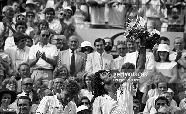 Yannick Noah winning the French Open tennis tournament Roland-Garros with Mat Wilander, Paris, France, may 1983.