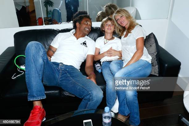 Yannick Noah with his companion Iabelle Camus and their son Joaluka Noah attend the 'Vivement Dimanche' French TV Show. Held at Pavillon Gabriel on...