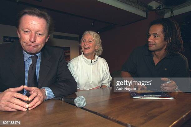 Yannick Noah, with his mother Marie-Claire, and Roger Zabel present the next tennis concert due to be held at the Paris Zenith on May 26.