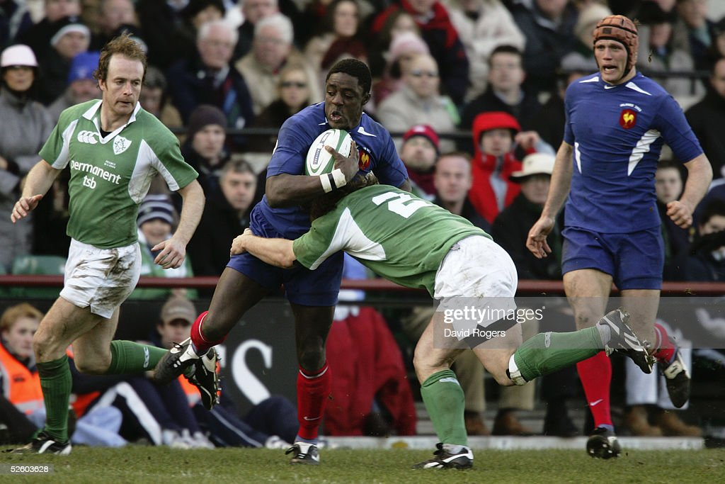 Yannick Nyanga of France is tackled by Ireland's Shane Byrne during the RBS Six Nations Championship match between Ireland and France at Lansdowne Road on March 12, 2005 in Dublin, Ireland.