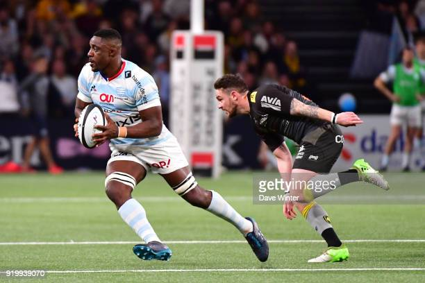 Yannick Nyanga of Racing 92 and Ryan Lamb of La Rochelle during the French Top 14 match between Racing 92 and La Rochelle at U Arena on February 18...