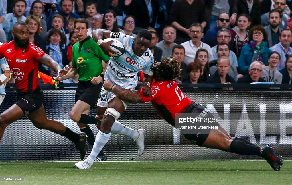 Yannick Nyanga #19 of Racing 92 is tackled by Mathieu Bastareaud #12 of RC Toulon during the French Top 14 match between Racing 92 and RC Toulon at U Arena on April 8, 2018 in Nanterre, France.